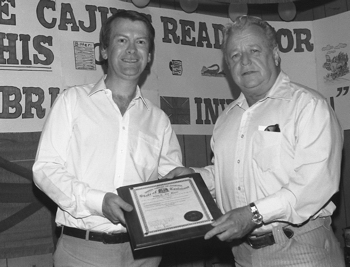 Louisiana Music Commission plaque presented by J D Miller to JJB at the Bayou Bar, Lafayette, 1982.
