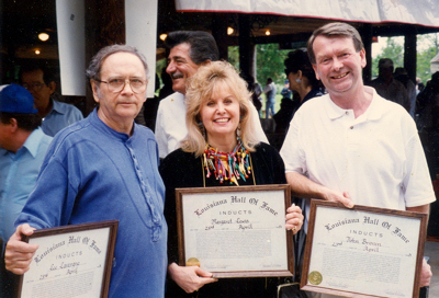 Louisiana Hall of Fame awards, 1995: l-r, Lee Lavergne (Lanor Records), Margaret Lews (Ram, Chess, Capitol, SSS Int. artist) and JJB.