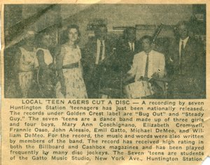 The Long-Islander newspaper clipping, 1958, courtesy John Alessio: L-r: Mary Ann Coschignano, Fran Osso, Elizabeth Cromwell, William DeMeo, Emil Gatto, Michael DeMeo, John Alessio