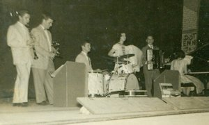 The Seven Teens, ca. 1957, courtesy John Alessio: L-r: Bill DeMao, clarinet: John Alessio, trumpet; Mike DeMao, drums; Mary Ann Coshignano, vocal and accordion; Emil Gatto, accordion; Liz Cromwell, vocal and piano. (Fran Osso, guitar, not shown.)