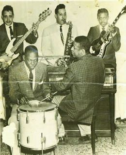 l-r: Dick Bennett, Roland Bennett, James Ellis (all three standing), Herbert Shufford (drums) and Thomas Hagan (piano), early 1960s. Courtesy Dick Bennett.