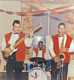 Dick Bennett, unidentified drummer, Roland Bennett, 1960s. Courtesy Dick Bennett.